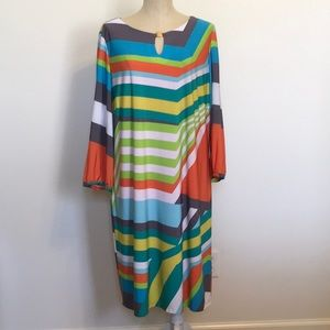 Tahari PlusSz Jersey Knit Multicolored Shift Dress